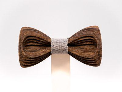 SÖÖR Antero neckwear in wenge with light grey fabric. A unique wooden bowtie for men