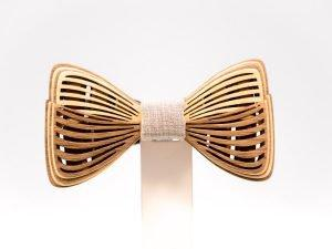 SÖÖR Richie neckwear in birch and walnut with light grey fabric. A unique wooden bowtie