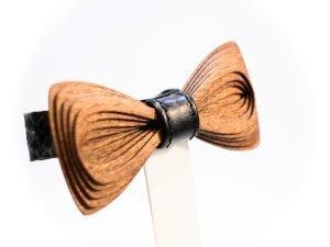 SÖÖR Antero Leather Mahogany wooden bow tie
